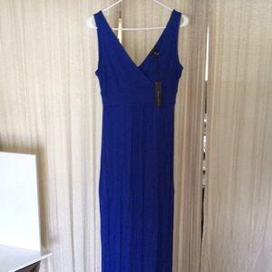 New blue long summer dress sz Medium. Rayon blend.